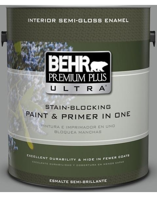 BEHR ULTRA 1 gal. #PPU24-19 Shark Fin Semi-Gloss Enamel Interior Paint and Primer in One