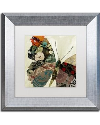 """Trademark Art 'Butterfly Brocade III' by Color Bakery Framed Graphic Art ALI4107-S1 Size: 11"""" H x 11"""" W x 0.5"""" D Mat Color: White"""