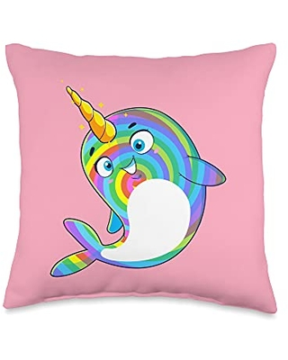 Unicorn Squad Goals Gift Store Narwhal Rainbow Girls Kids Boys Throw Pillow, 16x16, Multicolor