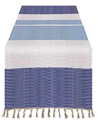 "Striped Chindi Table Runner - 16""x72"" Oblong, Multi"