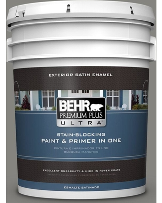 BEHR ULTRA 5 gal. #PPU24-07 Barnwood Gray Satin Enamel Exterior Paint and Primer in One