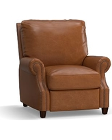 James Leather Recliner, Down Blend Wrapped Cushions, Vintage Caramel