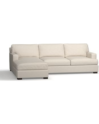 Townsend Square Arm Upholstered Right Chaise Sofa Sectional, Polyester Wrapped Cushions, Performance Slub Cotton Stone