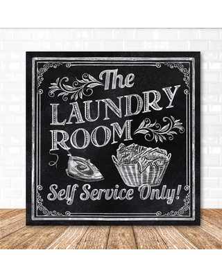 """Courtside Market 16 in. x 16 in. """"Laundry room"""" Canvas Printed Wall Art, Black"""