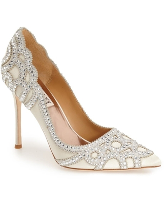 Badgley Mischka Collection Rouge Pointed Toe Pump, Size 6.5 in Ivory at Nordstrom