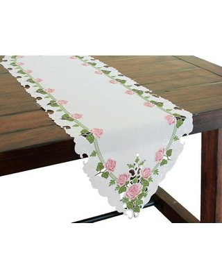 "Xia Home Fashions Summer Rose Embroidered Cutwork Table Runner XD140381 Size: 72"" L x 15"" W"