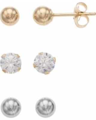 6942b6a9c Forever 14K Two Tone Ball & Cubic Zirconia Stud Earring Set, Women's, Gold