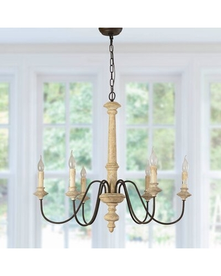 Fellers 6 - Light Candle Style Classic Chandelier with Wood Accents