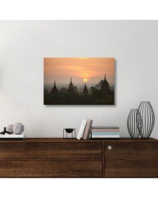 "East Urban Home 'Sunrise Bagan II' Photographic Print On Wrapped Canvas ERNH2016 Size: 24"" H x 36"" W x 1.5"" D"