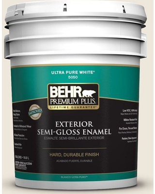 BEHR Premium Plus 5 gal. #OR-W12 Mourning Dove Semi-Gloss Enamel Exterior Paint and Primer in One