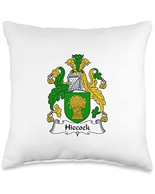 Family Crest and Coat of Arms clothes and gifts Hiccock Coat of Arms - Family Crest Throw Pillow, 16x16, Multicolor