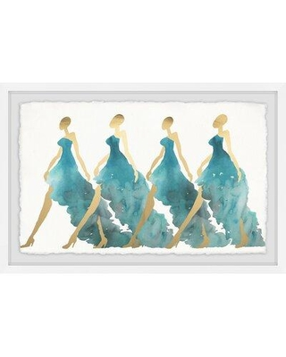 """House of Hampton® 'Blue Obsession' Framed Watercolor Painting Print, Paper in Brown/Blue, Size 24"""" H x 36"""" W 