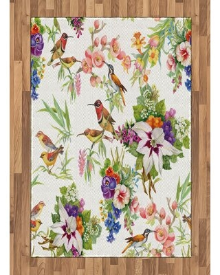 """Floral Pistachio Green/Pink Area Rug East Urban Home Rug Size: Rectangle 4' x 5'8"""""""