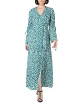 Standards and Practices Green Leopard Women's Violeta Ruched Sleeves Wrap Maxi Dress