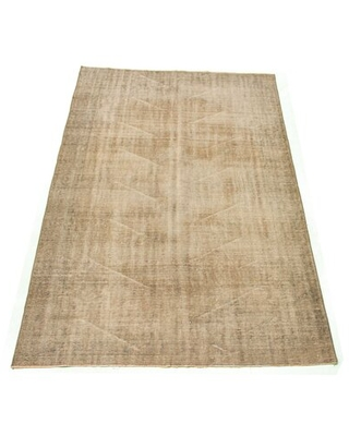 """One-of-a-Kind Overdyed Hand-Knotted 1980s Beige 6'1"""" x 9'3"""" Wool Area Rug"""