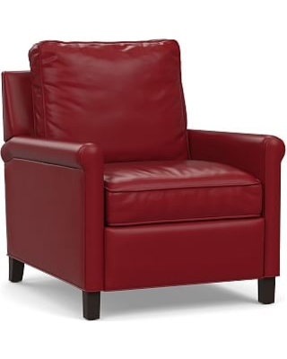 Tyler Roll Arm Leather Recliner without Nailheads, Down Blend Wrapped Cushions, Signature Berry Red