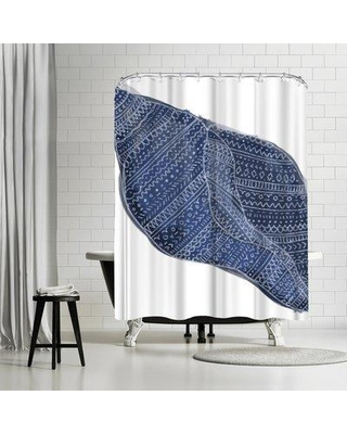 East Urban Home Jetty Printables Navy Blue Tribal Shell Art Single Shower Curtain URBR5159