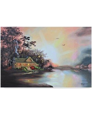 """Millwood Pines 'Cabin In Color' Acrylic Painting Print on Wrapped Canvas MLWP9802 Size: 16"""" H x 24"""" W x 2"""" D"""