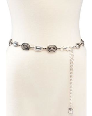 New Directions Silver Ribbed Edge Chain Belt