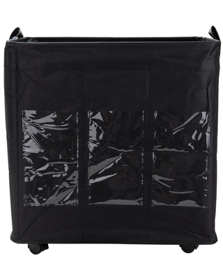 Mind Reader 105 L Black 3-Section Rolling Laundry Hamper with Wheels, Dirty Clothes Storage
