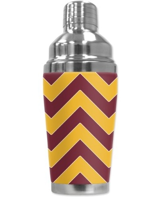 """Mugzie """"Washington Football Colors Chevron"""" Cocktail Shaker with Insulated Wetsuit Cover, Black"""