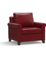 Cameron Roll Arm Leather Armchair, Polyester Wrapped Cushions, Leather Signature Berry Red