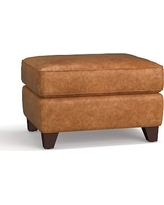 Cameron Roll Arm Leather Ottoman, Polyester Wrapped Cushions, Leather Statesville Caramel