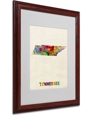 """Trademark Art """"Tennessee Map"""" by Michael Thompsett Framed Graphic Art MT0337- Size: 20"""" H x 16"""" W x 0.5"""" D Frame: Brown - Beveled"""