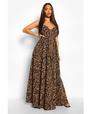 Womens Animal Print Tie Bust Cut Out Maxi Dress - Brown - 10