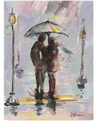 """Trademark Fine Art 'Rain and Shine' Acrylic Painting Print on Wrapped Canvas WL00059-CGG Size: 47"""" H x 35"""" W x 2"""" D"""