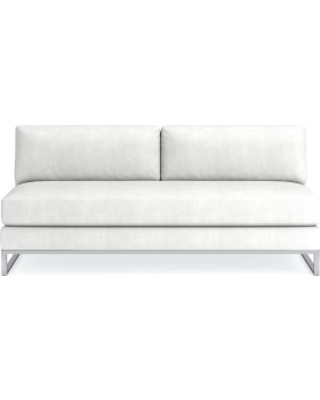 Paxton Sectional, Armless Sofa, Standard Cushion, Chunky Linen, White, Polished Nickel