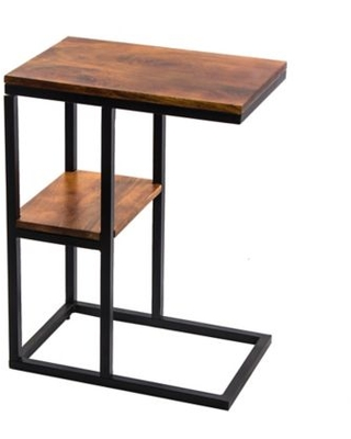 Mango Wood Accent Table with Bottom Shelf in Brown