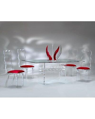 Amazing Sales On Brayden Studio Hazzard 5 Piece Dining Set Plastic Acrylic Upholstered Chairs Glass In Red Clear Size Small Seats Up To 4 Wayfair