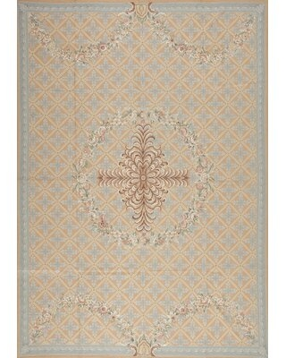 Highland Needleworks Floral Handwoven Wool Baby Blue/Ivory Area Rug Samad Rugs Rug Size: Rectangle 6' x 9'