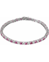 """Lab-Created Ruby & Lab-Created White Sapphire Sterling Silver Tennis Bracelet, Women's, Size: 7.5"""", Red"""