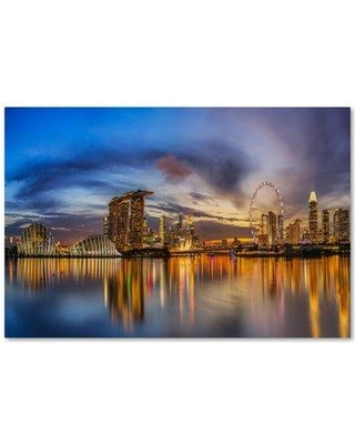 """Trademark Art 'Sunset' Graphic Art Print on Wrapped Canvas 1X02844-C Size: 16"""" H x 24"""" W"""
