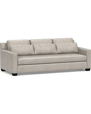 York Deep Seat Square Arm Leather Sofa 80 With Bench Cushion Down Blend Wred