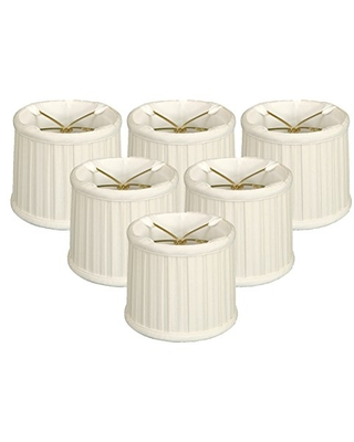 Royal Designs English Box Pleat Chandelier, Set of 6, Shade Size 6, White (CS-210WH-6)