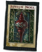 Symple Stuff Joyeux Noel Merry Christmas in French Vintage Wooden Ornament Towel W000609134