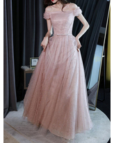 Milanoo Pink Evening Dress A-Line Bateau Neck Sleeveless Lace-up Bows Floor-Length Sequined Formal Party Dresses