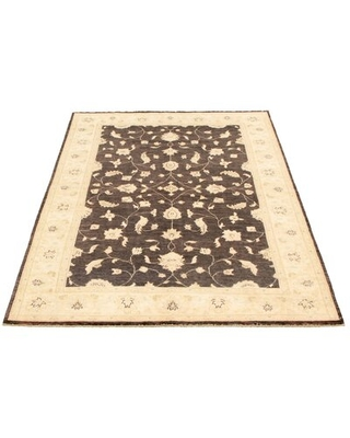 """One-of-a-Kind Asiata Hand-Knotted 2010s Ushak Black/Ivory 6' x 8'10"""" Wool Area Rug Charlton Home®"""