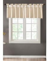Madison Park Champagne Emilia Lightweight Faux Silk Valance With Beads