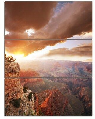 Design Art 'Grand Canyon under Thunderstorm Sky' 3 Piece Photographic Print on Wrapped Canvas Set PT12855-3PV