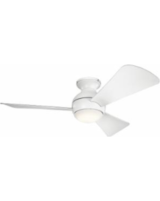 Kichler Lighting Sola Outdoor Rated 44 Inch Flush Mount Fan with Light Kit - 330151MWH