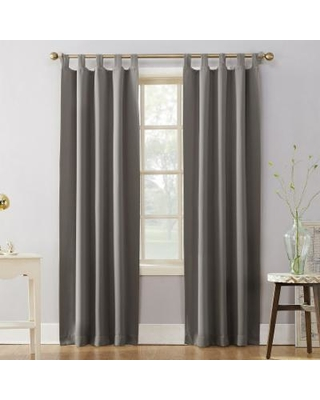 Sun Zero Blackout 1-Panel Ludlow Tab Top Window Curtain, Grey