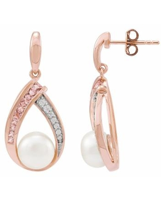 14k Rose Gold Over Silver Freshwater Cultured Pearl Drop Earrings, Women's, Pink