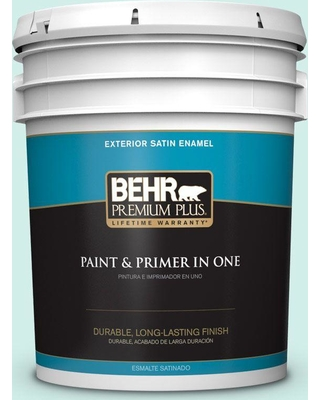 BEHR Premium Plus 5 gal. #P440-1 Shimmering Pool Satin Enamel Exterior Paint and Primer in One