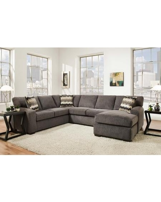 """Twist Collection 185230-4214-SEC-PS 123"""" 2 PC Left Side Facing Sectional with Track Arms Block Feet Decorative Pillows Perth Smoke Fabric"""