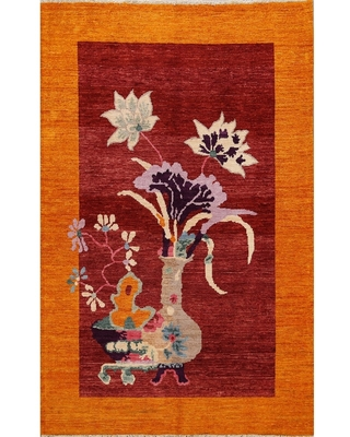 "Pictorial Art Deco Chinese Oriental Area Rug Wool Hand-knotted - 5'2"" x 6'9"" (5'2"" x 6'9"" - Red)"