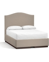 Raleigh Camelback Tall Storage Bed with Pewter Nailheads, Queen, Sunbrella(R) Performance Sahara Weave Mushroom